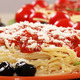 spaghetti with olives and sauce closeup - PhotoDune Item for Sale