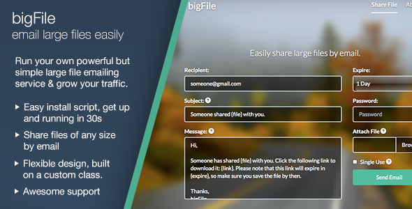 CodeCanyon bigFile Easily share large files by email 8642092