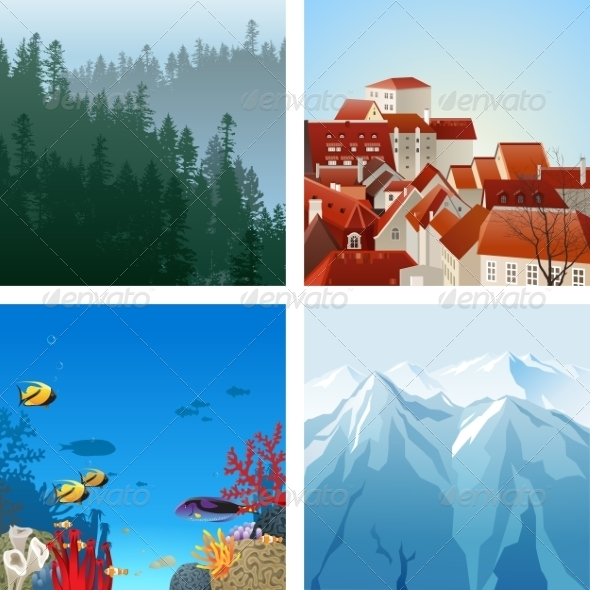 GraphicRiver Landscapes Set 8642421