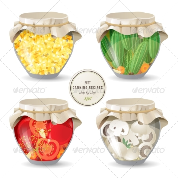 GraphicRiver Canning Mushrooms and Vegetables 8642456