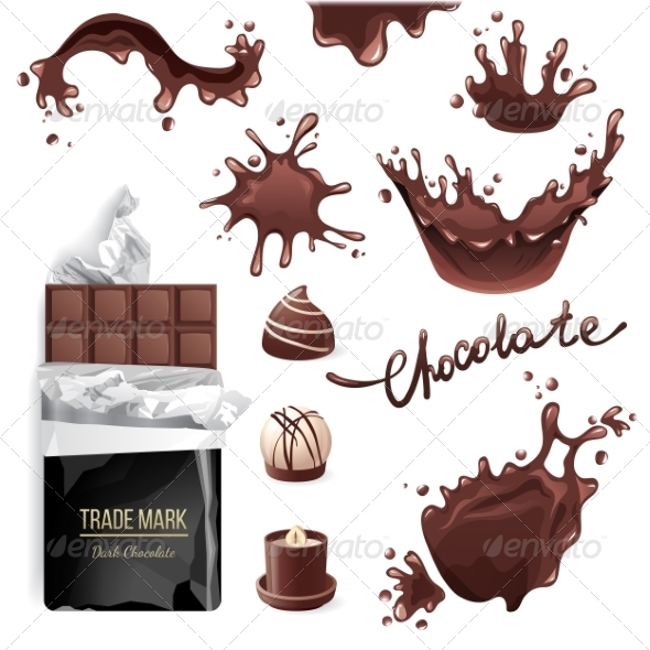 GraphicRiver Chocolate Splashes Set 8642489