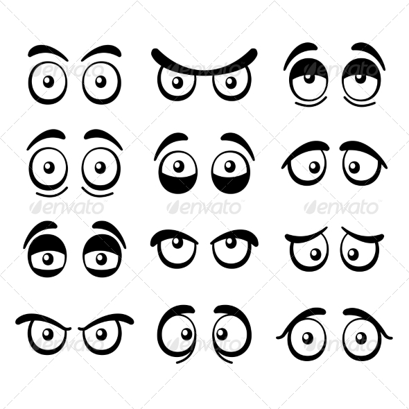 GraphicRiver Comic Cartoon Eyes Set 8642564