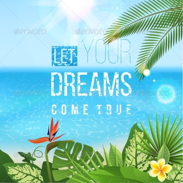 GraphicRiver Tropical Landscape with Type Design 8642768