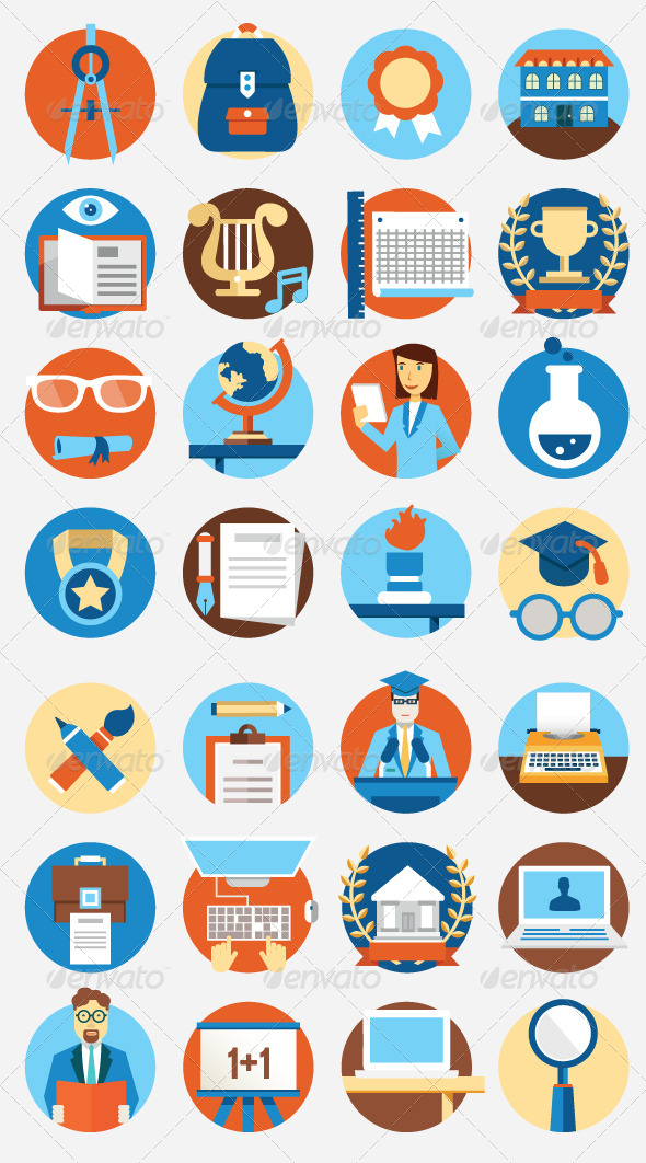 GraphicRiver Set of Flat Education Icons 8643021