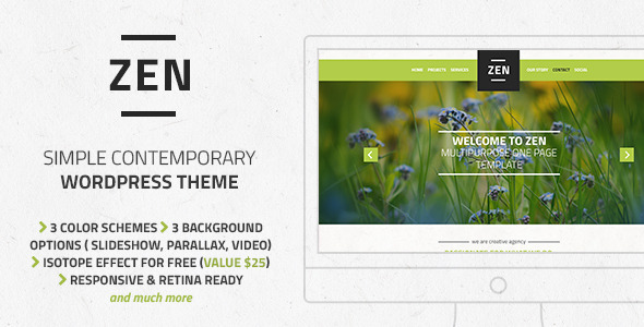 Zen – Responsive Multipurpose One Page Blog Theme - Creative WordPress