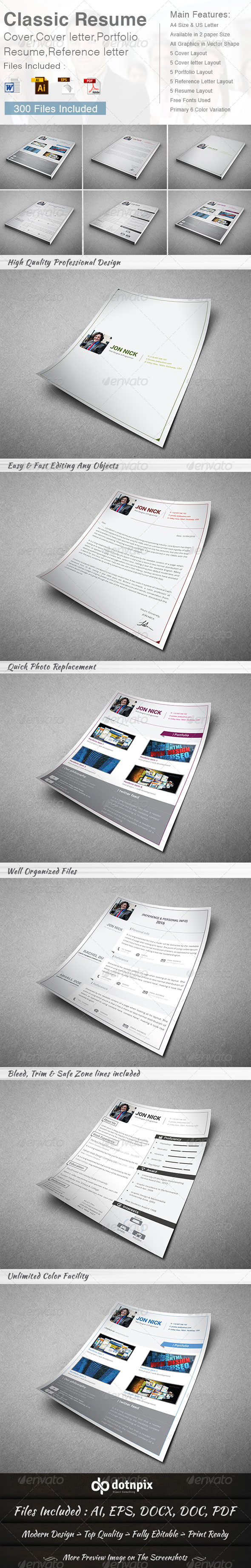 GraphicRiver Classic Resume 5 in 1 8643120