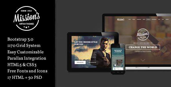 ThemeForest Missions Responsive One Page Multi-Purpose 8597154