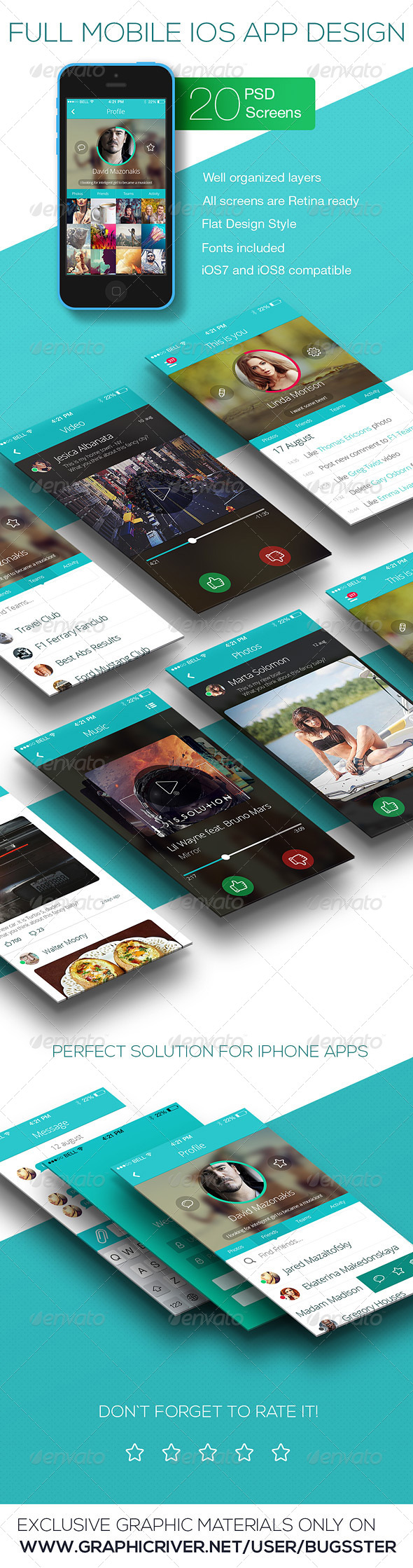 GraphicRiver OS Phone Full Mobile App UI Kit Design 8643299