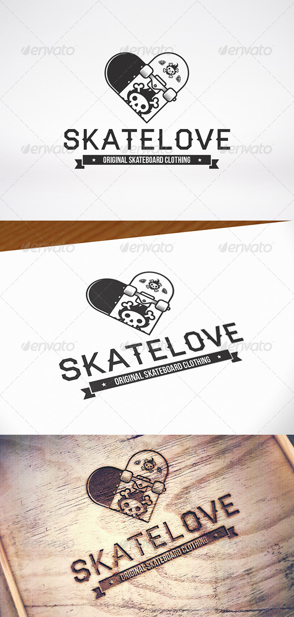 GraphicRiver Skate Love Logo Template 8643425