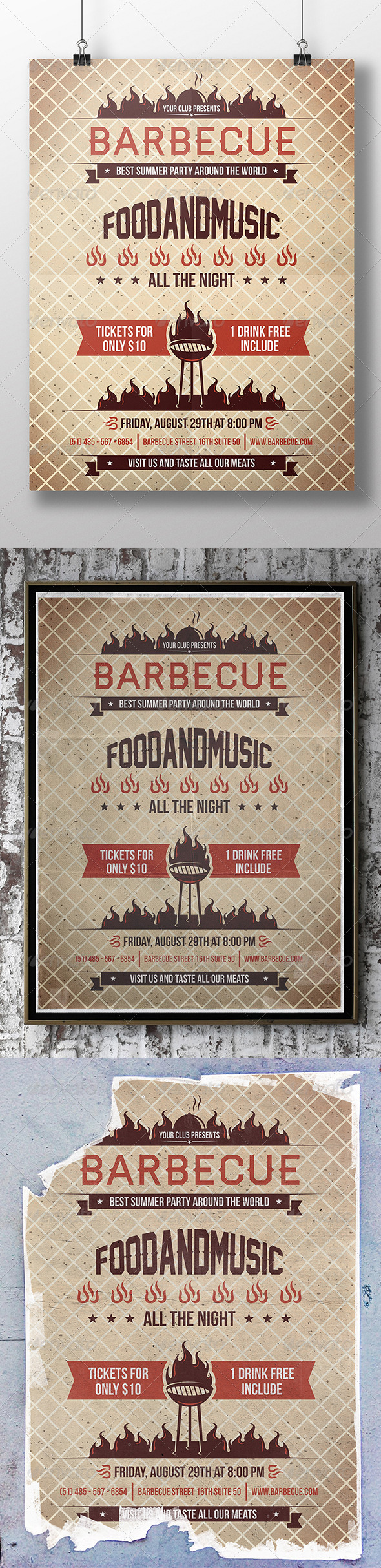 GraphicRiver BBQ Hot Summer Party Flyer 8643497
