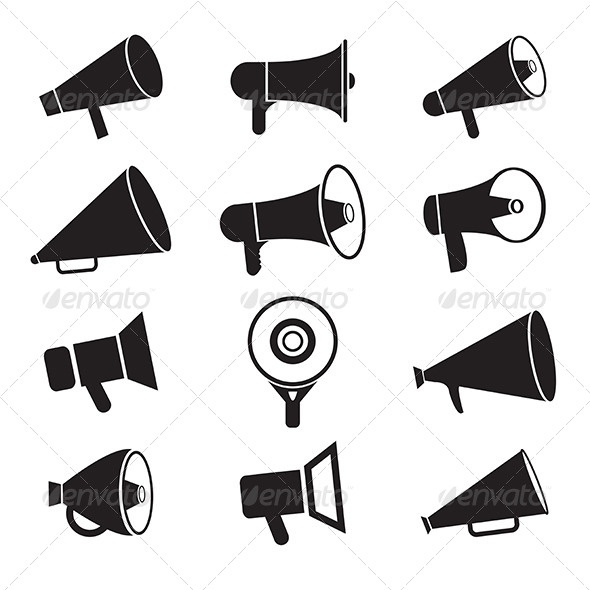 free printable speaker paper megaphone template stock photos graphics. Black Bedroom Furniture Sets. Home Design Ideas
