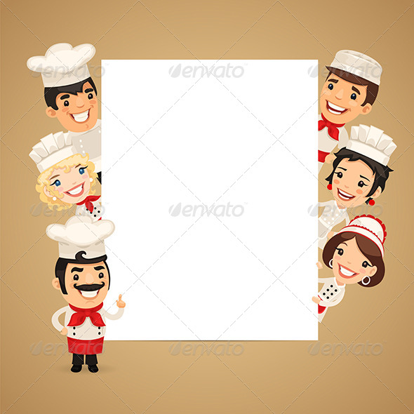 GraphicRiver Chefs Presenting Empty Vertical Banner 8640775