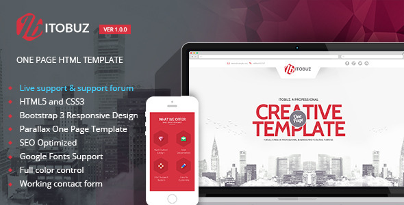 ThemeForest Itobuz One Page HTML Template 8372118