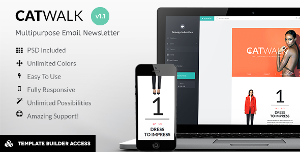 Catwalk - Fashion Mail + Builder/Editor Access  - Newsletters Email Templates