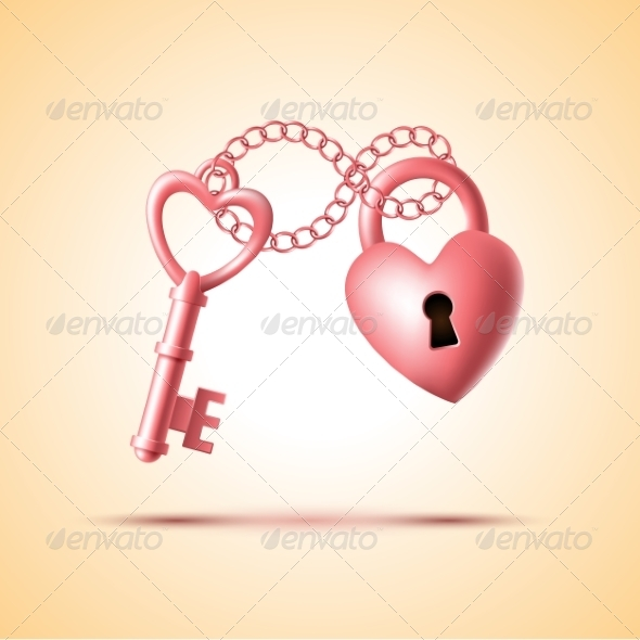 GraphicRiver Heart Lock with Key 8644555
