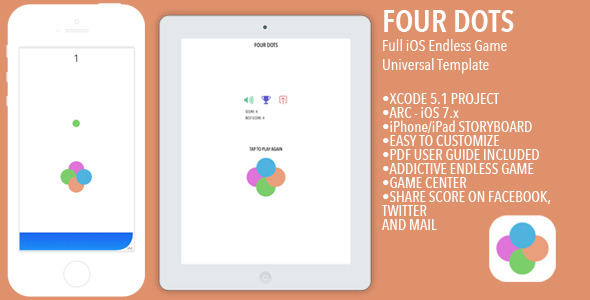 CodeCanyon Four Dots iOS Full Endless Game Template 8644601