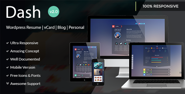 Dash - Wordpress Resume | vCard | Blog | Personal - Personal Blog / Magazine