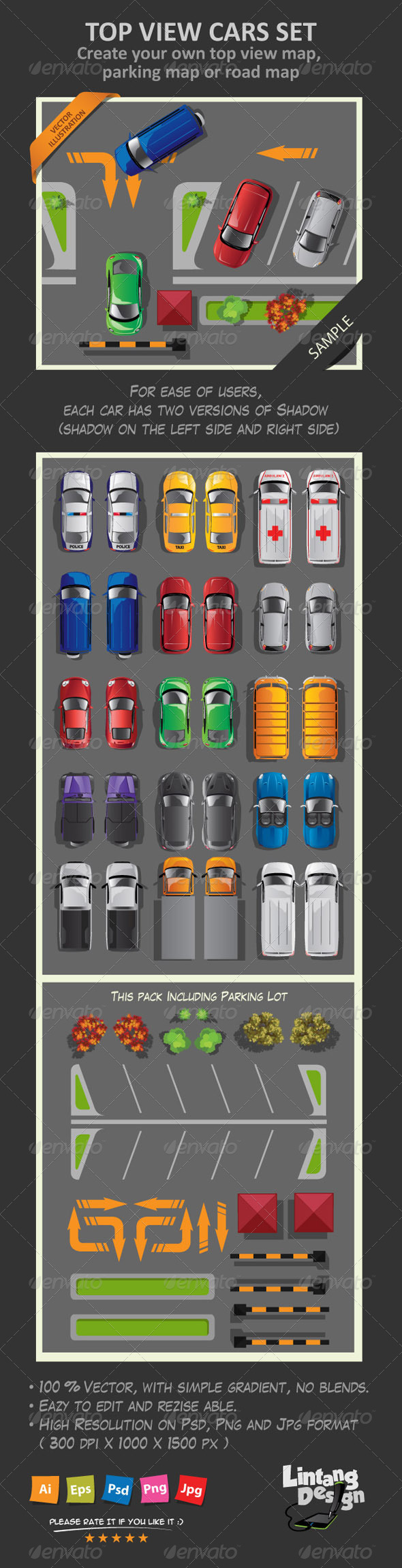 GraphicRiver Top View Cars Set 8605780