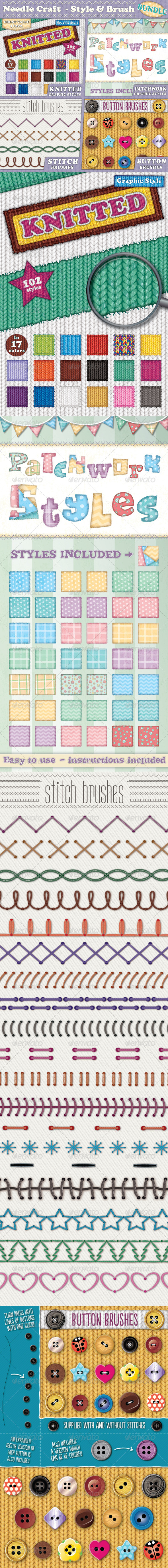 GraphicRiver Needle Craft Style & Brush Bundle 8645077