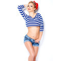 Cute blond in nautical striped blue clothing - PhotoDune Item for Sale