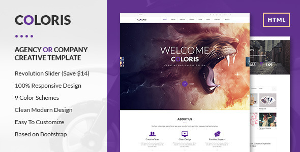 ThemeForest Coloris Premium Portfolio HTML Template 8627457