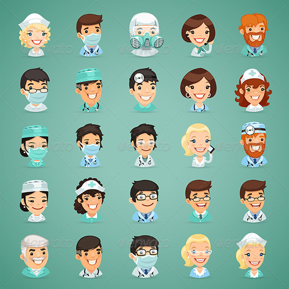 GraphicRiver Doctors Cartoon Characters Icons Set 8643065