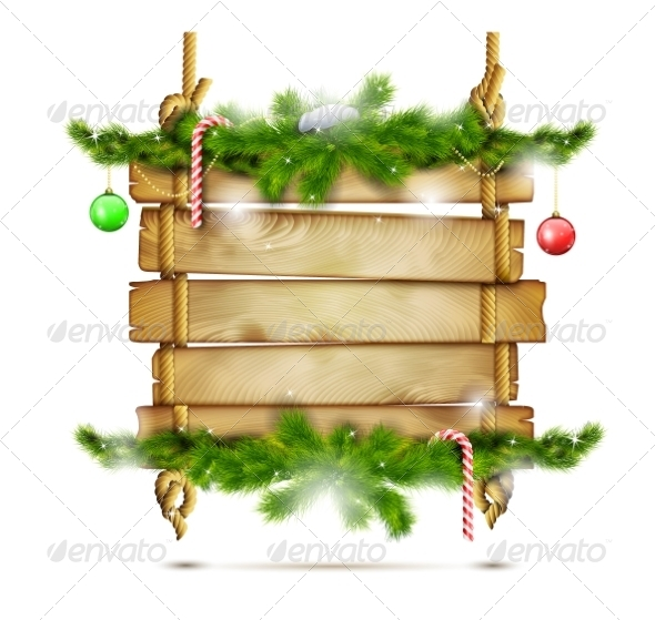 GraphicRiver Hanging Christmas Wooden Billboard 8645642