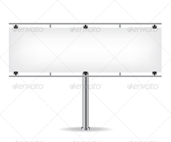 GraphicRiver Blank Metal Billboard on White Background 8645672