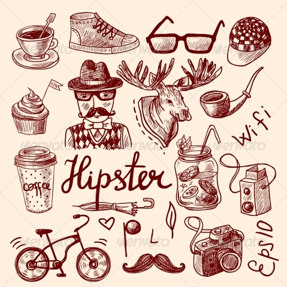GraphicRiver Set of Hipster Icons 8645696