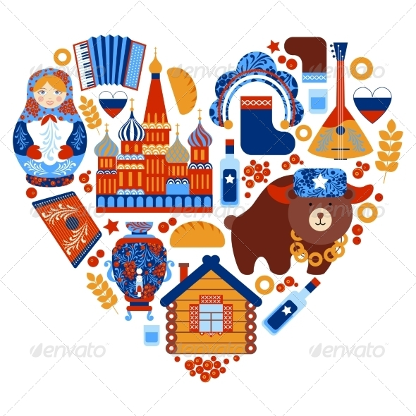 GraphicRiver Russia Travel Heart Set 8645748