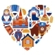 Russia Travel Heart Set - GraphicRiver Item for Sale