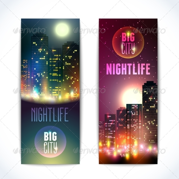 GraphicRiver City at Night Vertical Banners 8645767