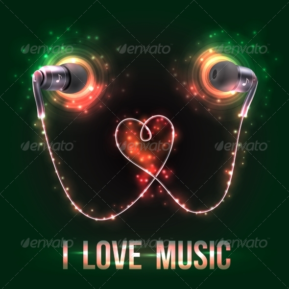 GraphicRiver Headphones with Music Letters 8645770
