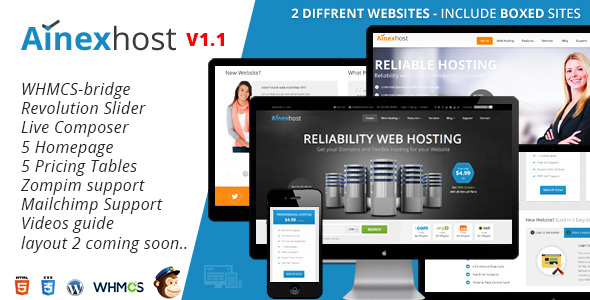 Ainex Host v1.0 - WHMCS WordPress Integration Themee