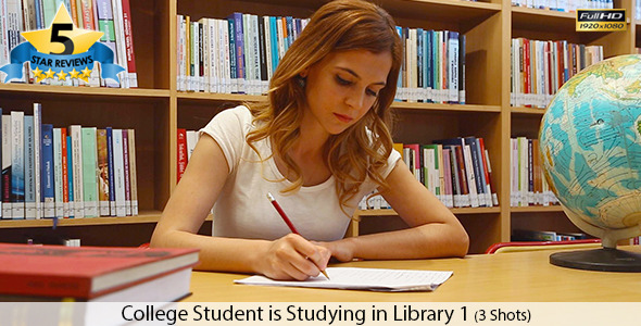 College Student is Studying in Library 1