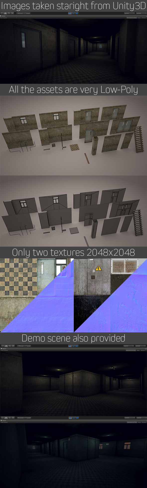 3DOcean Low Poly Horror Hospital Modular Interior Set 8646184