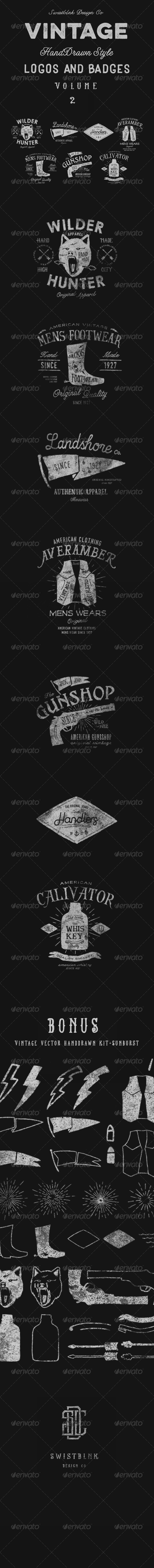 GraphicRiver Vintage Hand Drawn Style Logos And Badges Vol 2 8646218