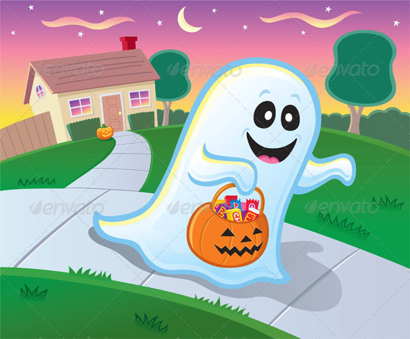 GraphicRiver Ghost Trick or Treating with Pumpkin Pail 8646374