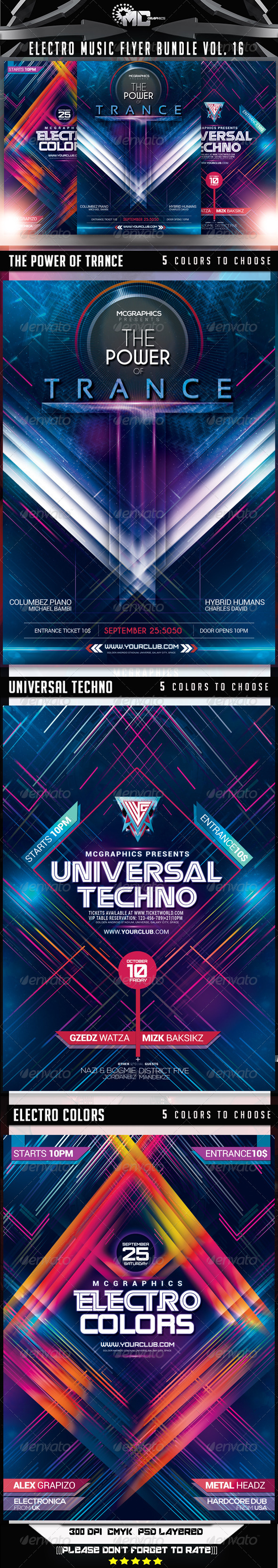 GraphicRiver Electro Music Flyer Bundle Vol.16 8646397