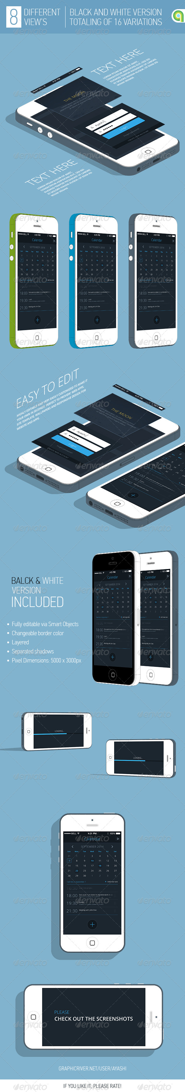 GraphicRiver 3D Flat Phone App Mockup 8646586