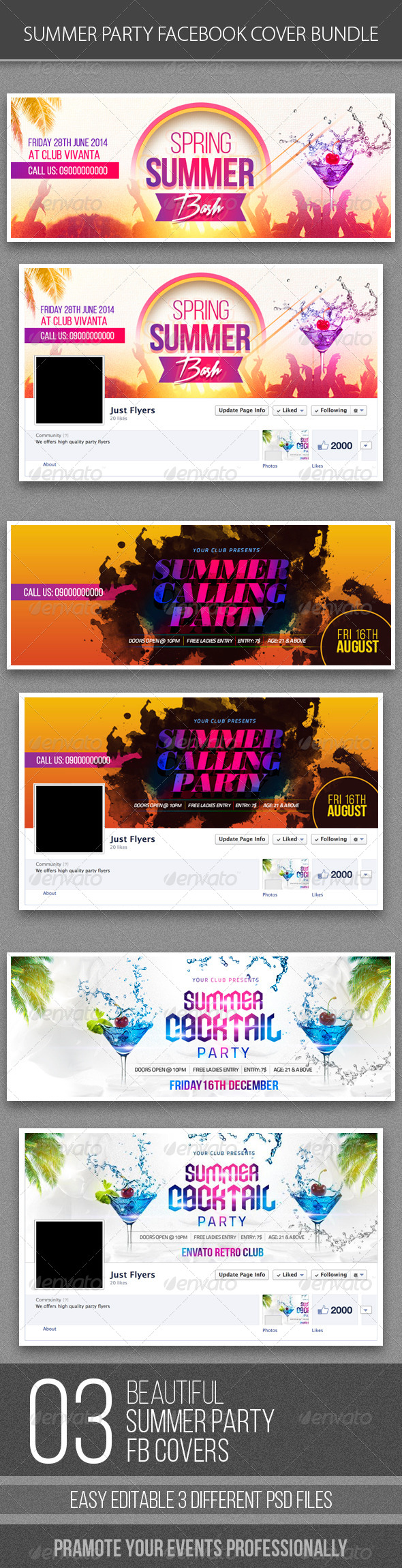 GraphicRiver Summer Party FB Cover Bundle 8646627