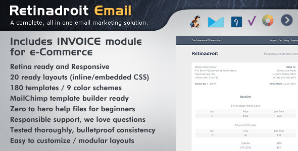 Retinadroit Responsive Email Template With Invoice - Newsletters Email Templates
