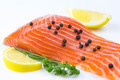Fresh salmon with spices on white background - PhotoDune Item for Sale