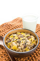 bran and raisin cereal in a bowl , top view - PhotoDune Item for Sale