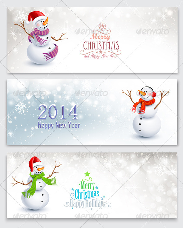 GraphicRiver Christmas Banners with Snowmen 8648658