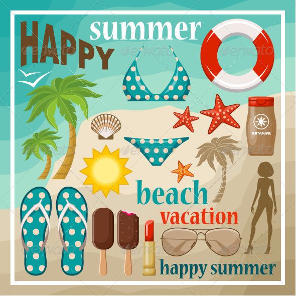 GraphicRiver Summer Beach Set 8651813