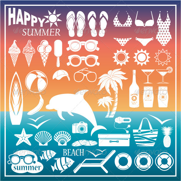 GraphicRiver Set of Icons for a Beach 8654663