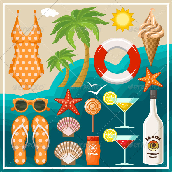 GraphicRiver Summer Beach Set 8654668