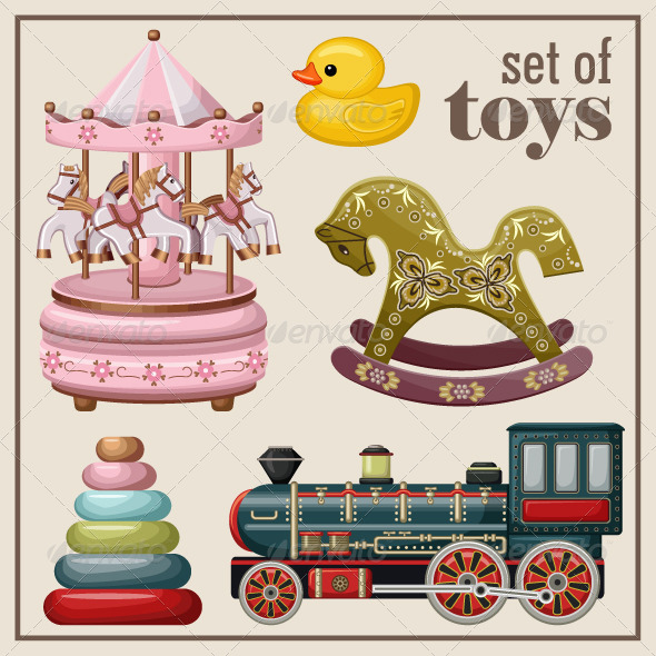 GraphicRiver Set of Vintage Toys 8654676