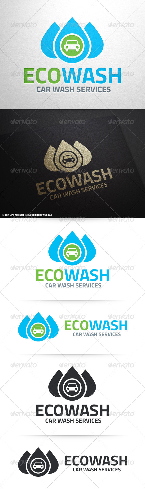 GraphicRiver Eco Car Wash Logo Template 8654677
